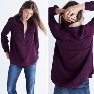 Madewell Popover Top Zip-front Plaid Shirt XS
